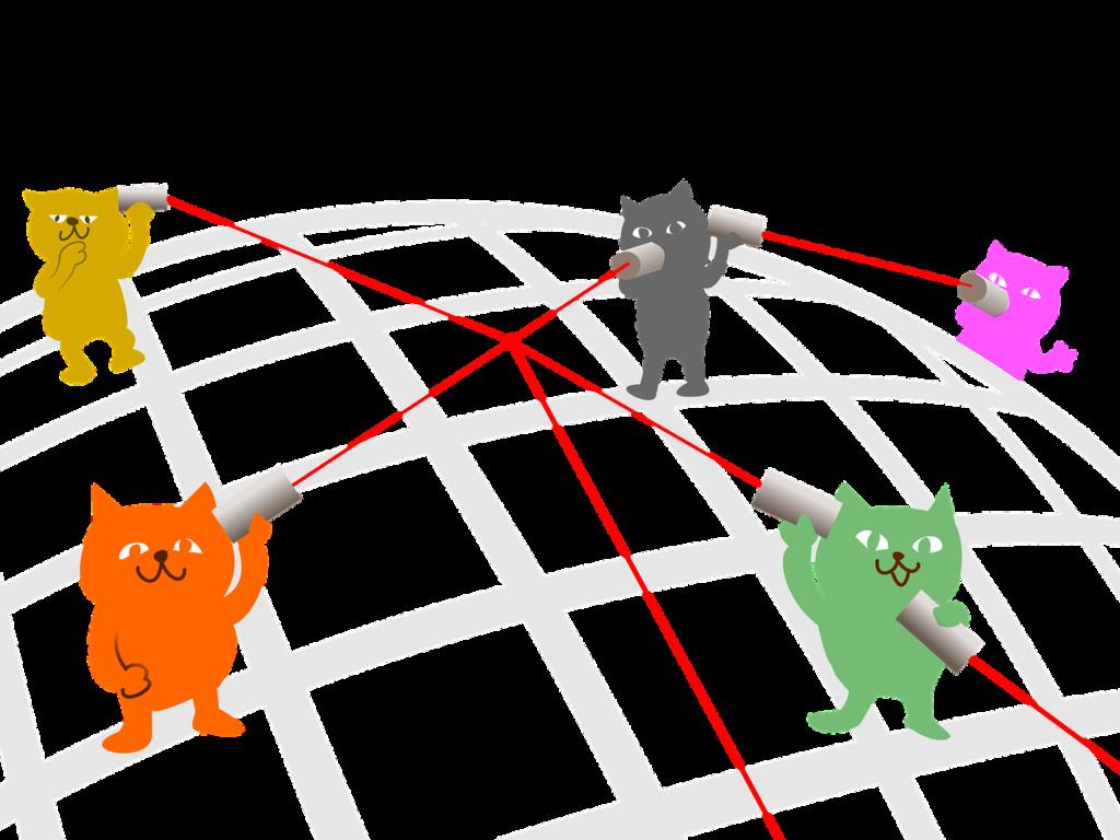 糸電話をしている猫たち